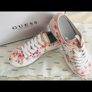 Guess pink multi fabric shoes size 7